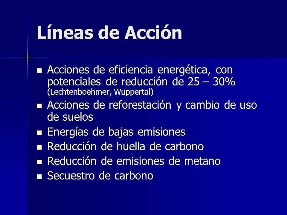 Líneas de Acción Acciones de eficiencia energética, con potenciales de reducción de 25 – 30% (Lechtenboehmer, Wuppertal)