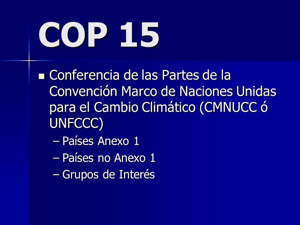COP 15Conferencia de las Partes de la Convención Marco de Naciones Unidas para el Cambio Climático (CMNUCC ó UNFCCC)