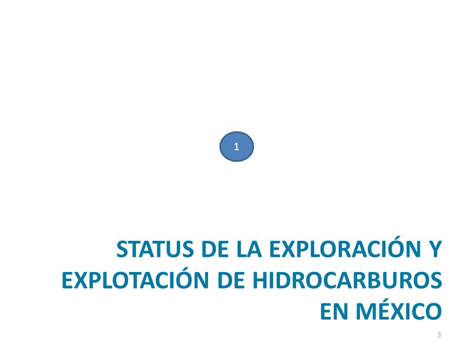 STATUS DE LA EXPLORACIÓN Y EXPLOTACIÓN DE HIDROCARBUROS EN MÉXICO