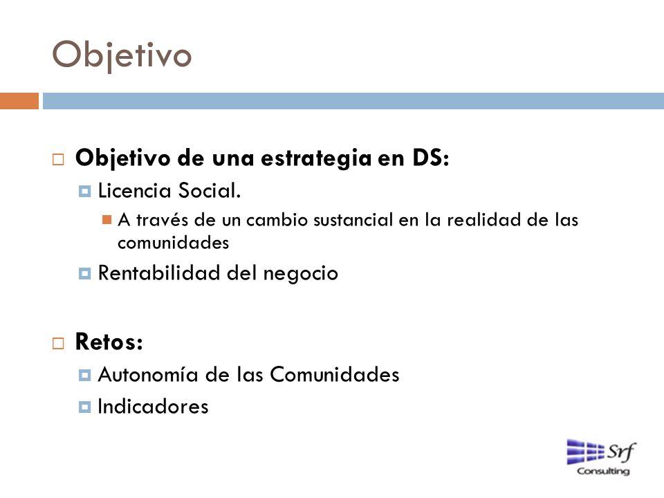 Objetivo Objetivo de una estrategia en DS: Retos: Licencia Social.