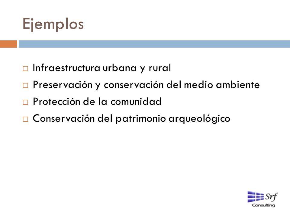 Ejemplos Infraestructura urbana y rural