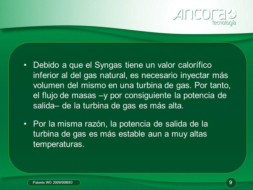 Debido a que el Syngas tiene un valor calorífico inferior al del gas natural, es necesario inyectar más volumen del mismo en una turbina de gas. Por tanto, el flujo de masas –y por consiguiente la potencia de salida– de la turbina de gas es más alta.