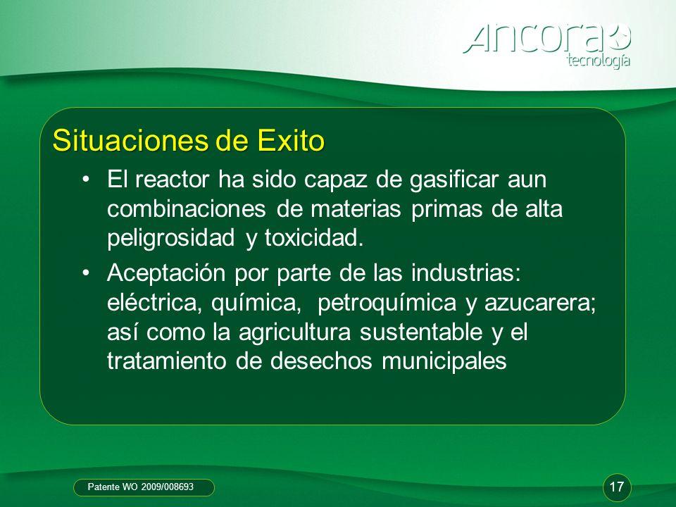 Situaciones de Exito El reactor ha sido capaz de gasificar aun combinaciones de materias primas de alta peligrosidad y toxicidad.