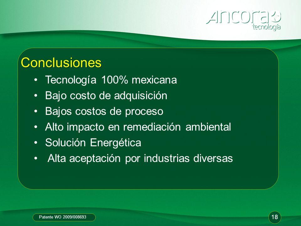 Conclusiones Tecnología 100% mexicana Bajo costo de adquisición