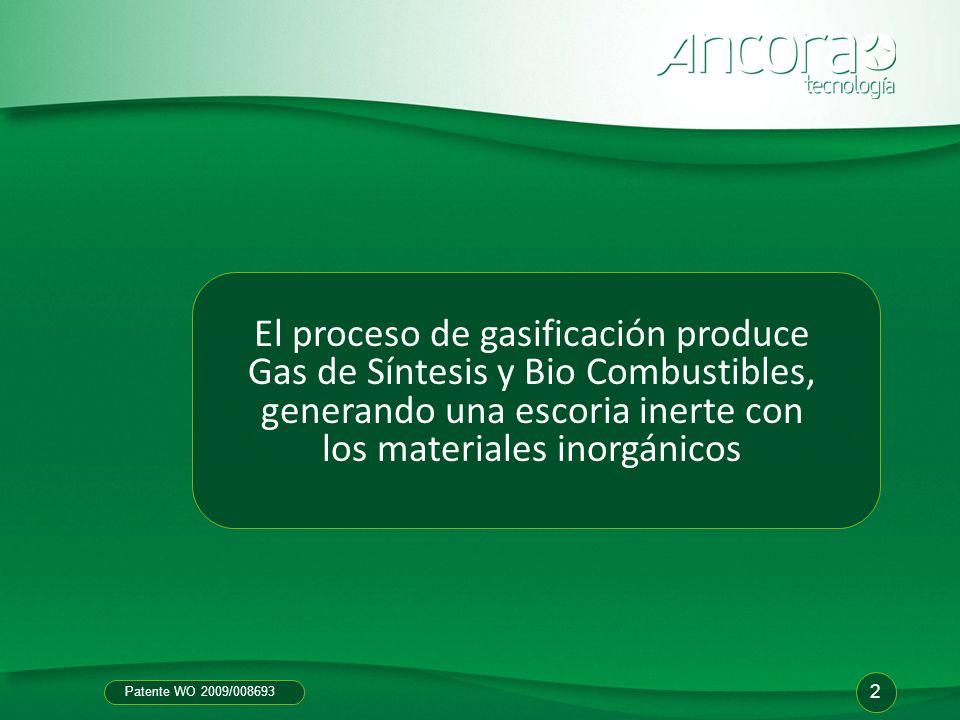 El proceso de gasificación produce Gas de Síntesis y Bio Combustibles, generando una escoria inerte con los materiales inorgánicos