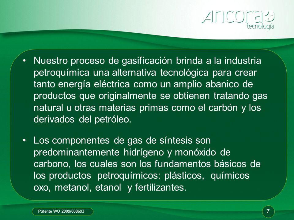 Nuestro proceso de gasificación brinda a la industria petroquímica una alternativa tecnológica para crear tanto energía eléctrica como un amplio abanico de productos que originalmente se obtienen tratando gas natural u otras materias primas como el carbón y los derivados del petróleo.