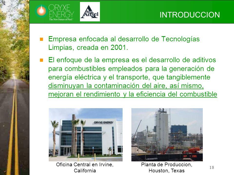INTRODUCCION Empresa enfocada al desarrollo de Tecnologías Limpias, creada en 2001.