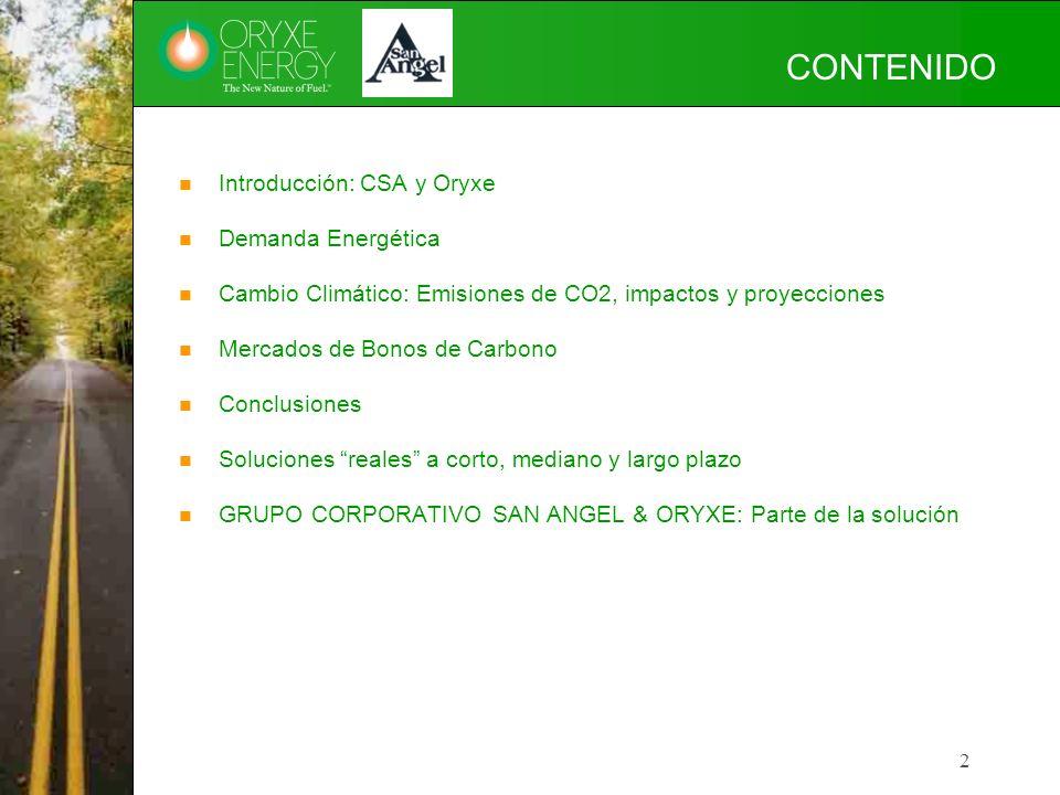 CONTENIDO Introducción: CSA y Oryxe Demanda Energética