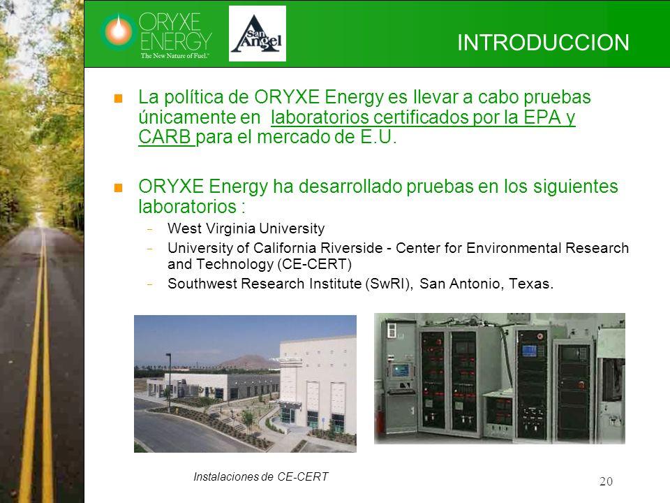 INTRODUCCION La política de ORYXE Energy es llevar a cabo pruebas únicamente en laboratorios certificados por la EPA y CARB para el mercado de E.U.