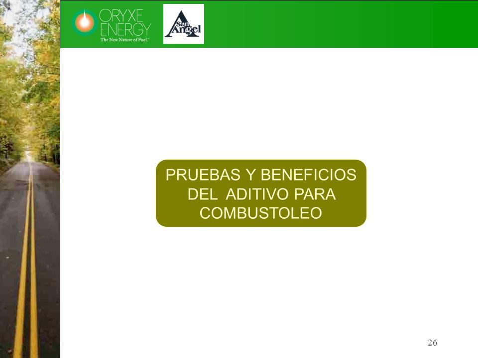PRUEBAS Y BENEFICIOS DEL ADITIVO PARA COMBUSTOLEO