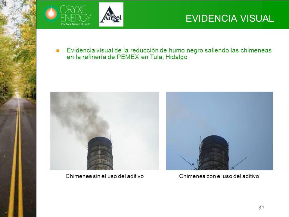 EVIDENCIA VISUAL Evidencia visual de la reducción de humo negro saliendo las chimeneas en la refinería de PEMEX en Tula, Hidalgo.