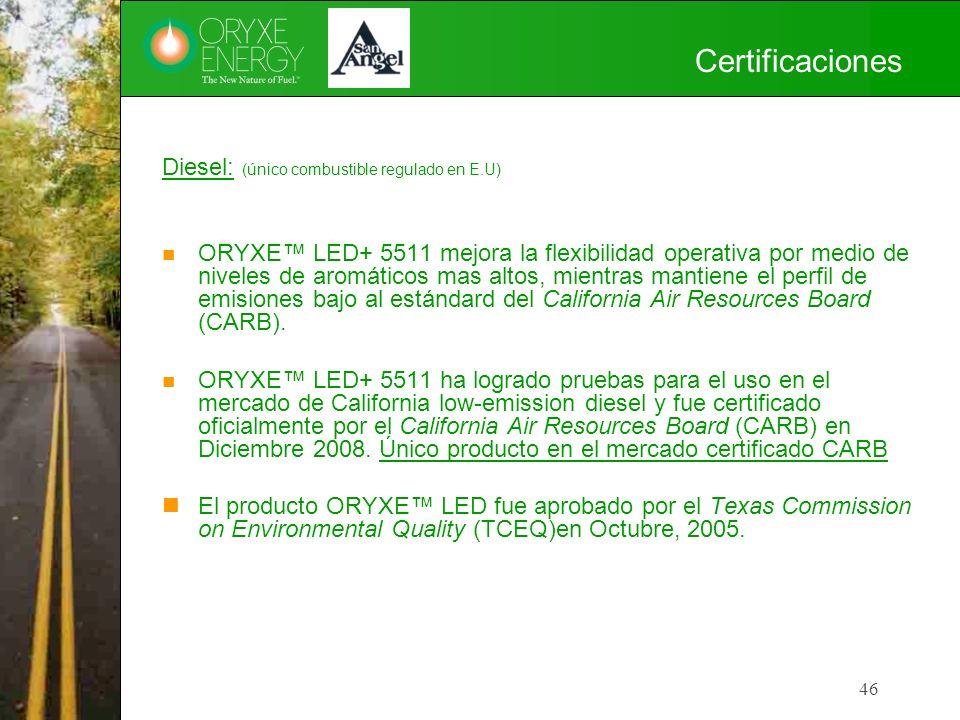 Certificaciones Diesel: (único combustible regulado en E.U)
