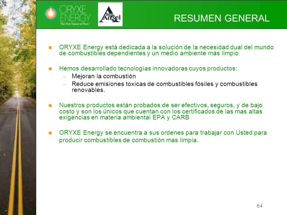 RESUMEN GENERAL ORYXE Energy está dedicada a la solución de la necesidad dual del mundo de combustibles dependientes y un medio ambiente más limpio.