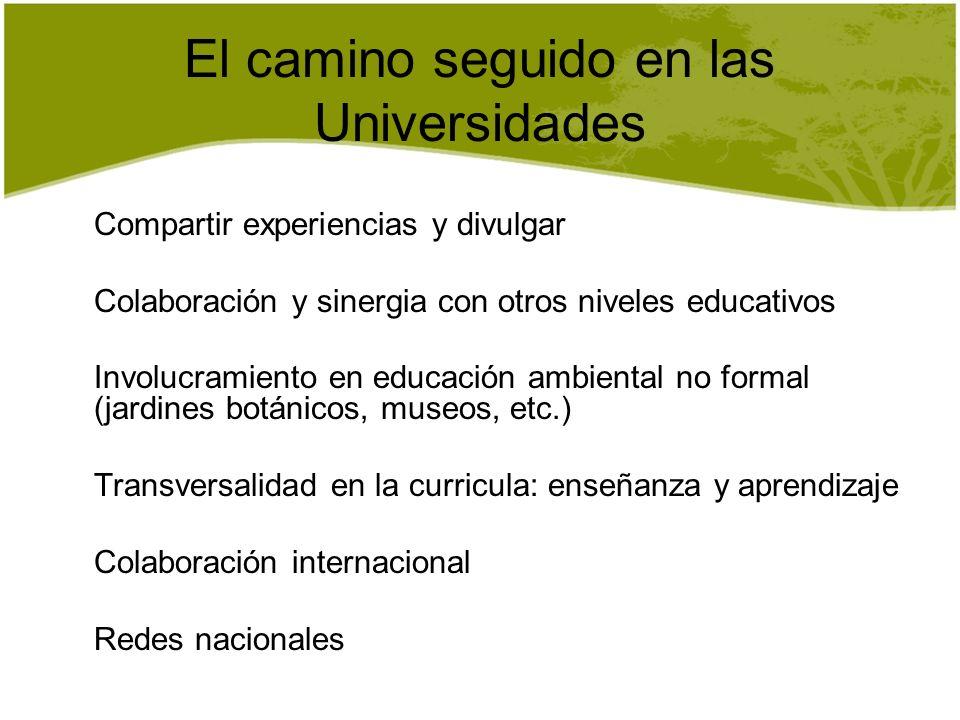 El camino seguido en las Universidades
