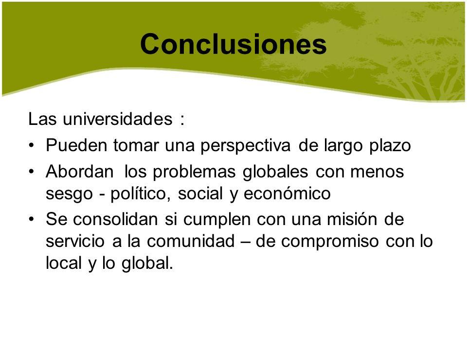 Conclusiones Las universidades :