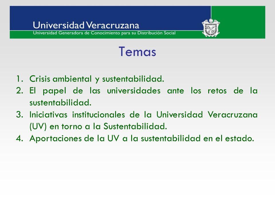 Temas Crisis ambiental y sustentabilidad.