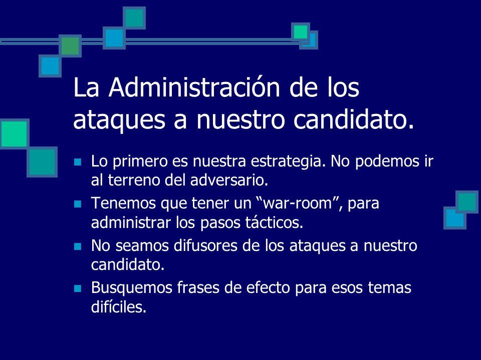 La Administración de los ataques a nuestro candidato.