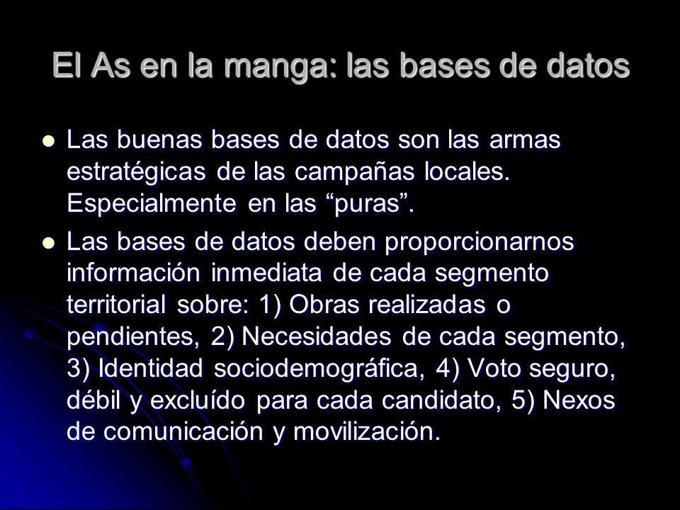 El As en la manga: las bases de datos