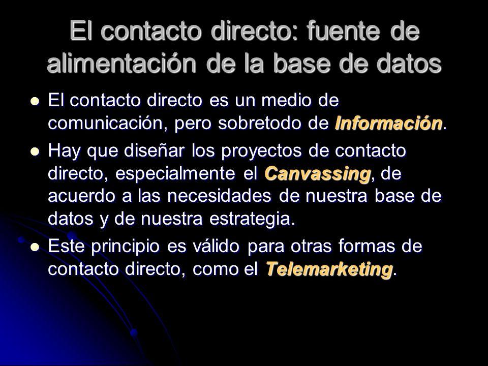 El contacto directo: fuente de alimentación de la base de datos