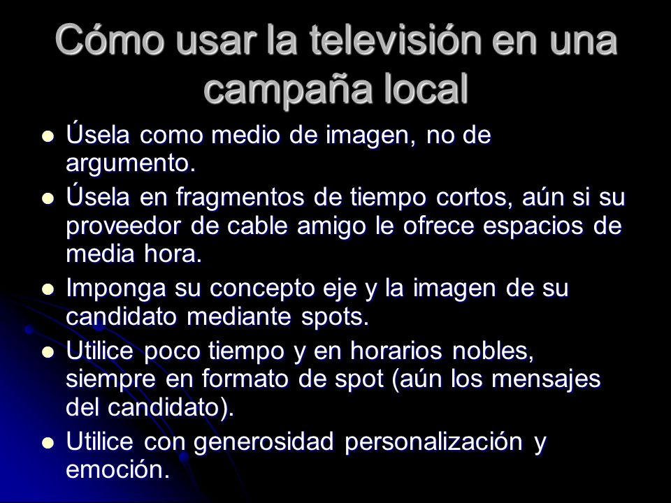 Cómo usar la televisión en una campaña local