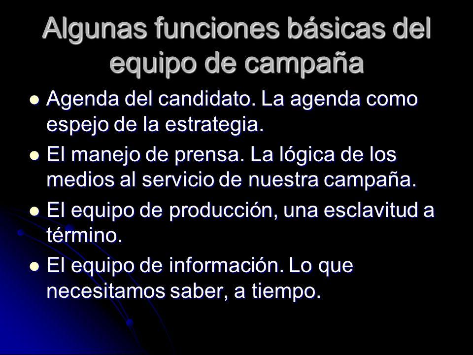 Algunas funciones básicas del equipo de campaña