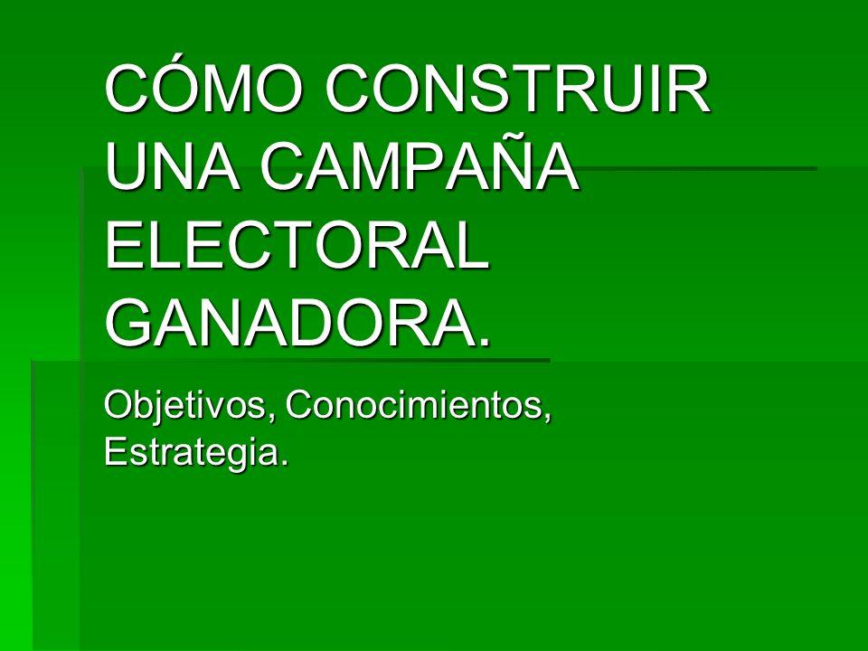 CÓMO CONSTRUIR UNA CAMPAÑA ELECTORAL GANADORA.