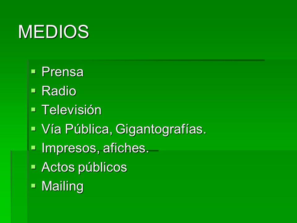 MEDIOS Prensa Radio Televisión Vía Pública, Gigantografías.