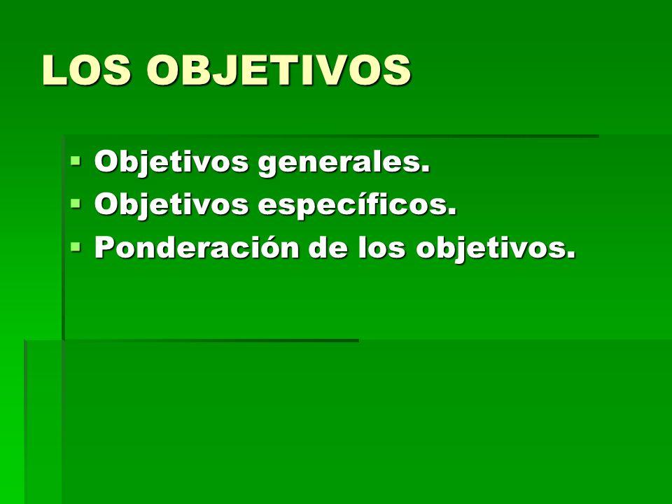 LOS OBJETIVOS Objetivos generales. Objetivos específicos.