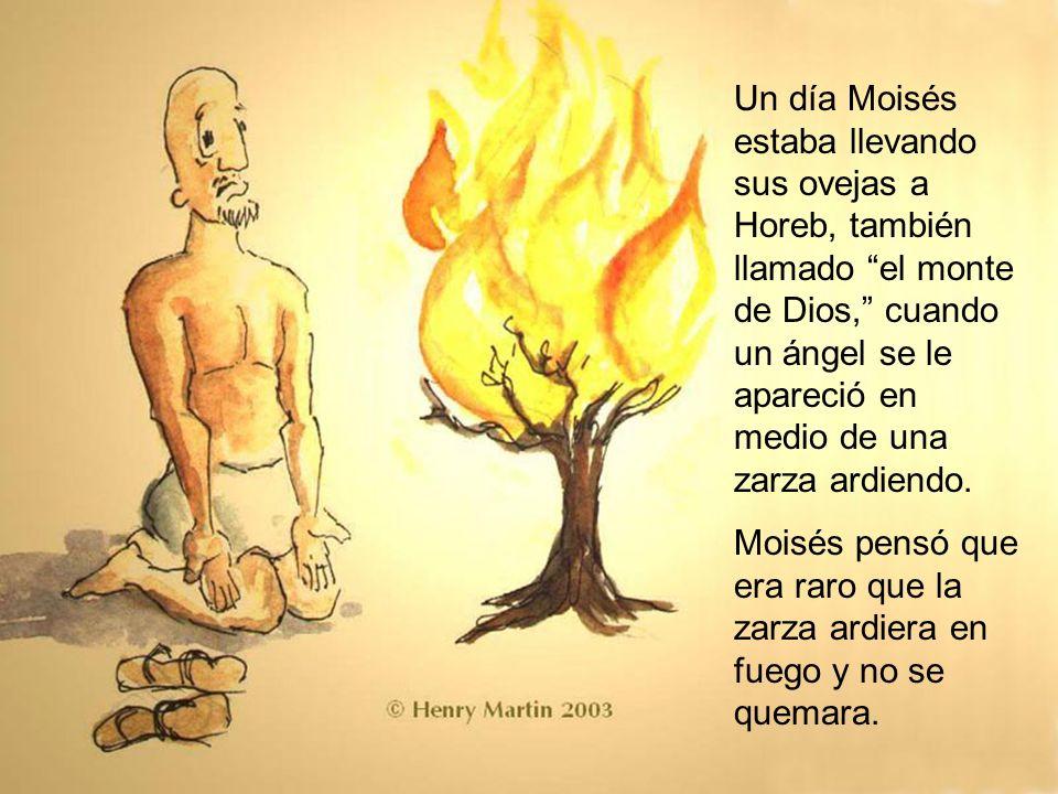 Un día Moisés estaba llevando sus ovejas a Horeb, también llamado el monte de Dios, cuando un ángel se le apareció en medio de una zarza ardiendo.