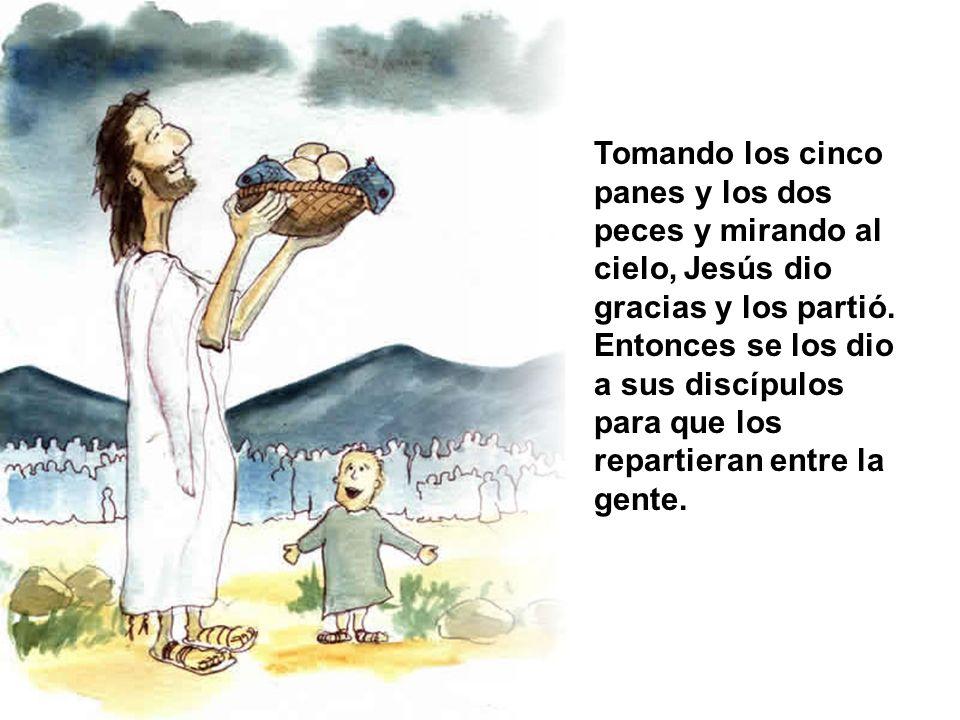 Tomando los cinco panes y los dos peces y mirando al cielo, Jesús dio gracias y los partió.