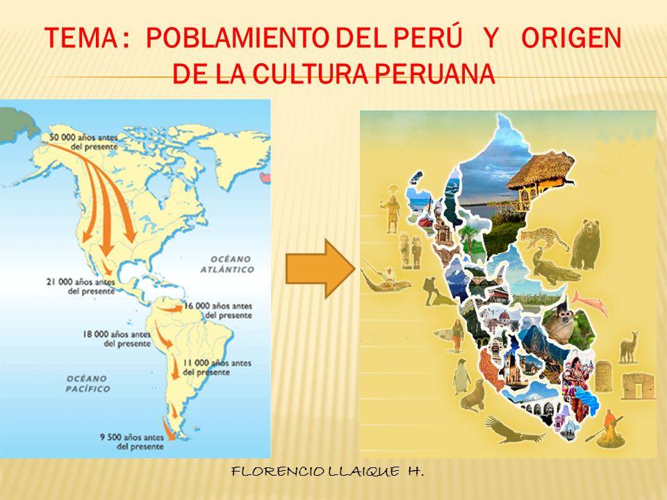 TEMA : POBLAMIENTO DEL PERÚ Y ORIGEN DE LA CULTURA PERUANA