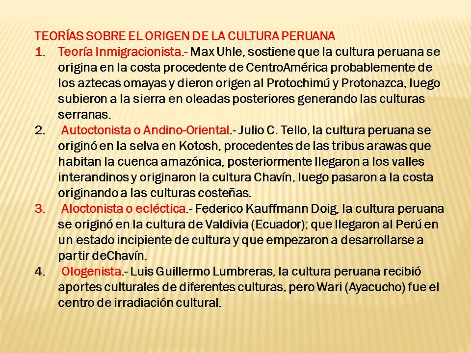 TEORÍAS SOBRE EL ORIGEN DE LA CULTURA PERUANA