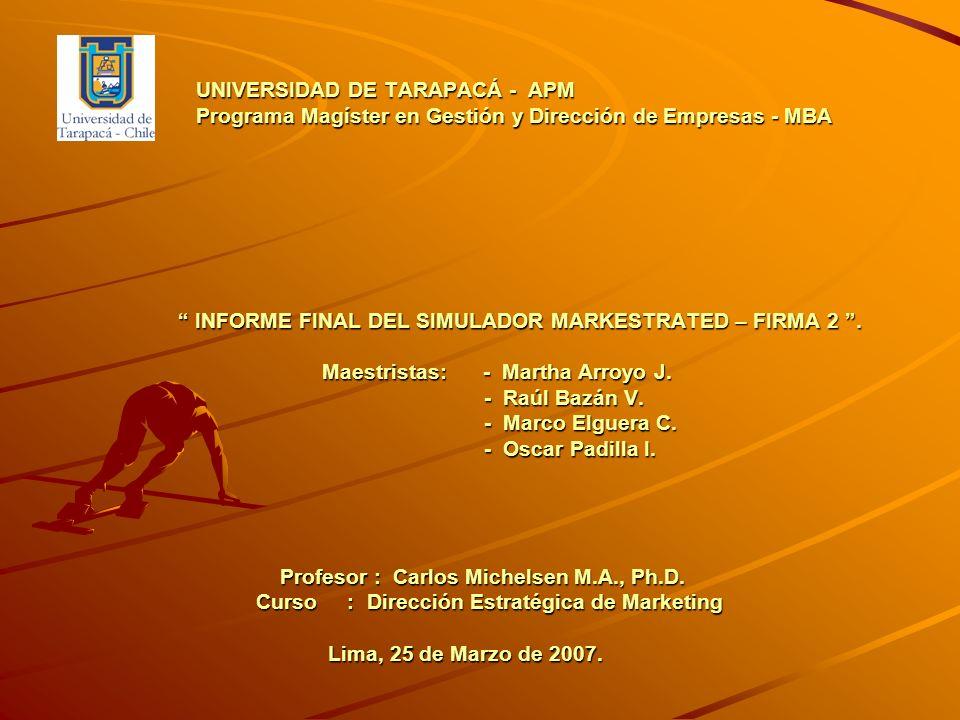 UNIVERSIDAD DE TARAPACÁ - APM Programa Magíster en Gestión y Dirección de Empresas - MBA INFORME FINAL DEL SIMULADOR MARKESTRATED – FIRMA 2 .