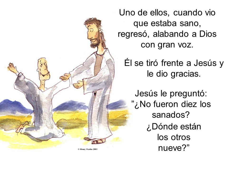 Él se tiró frente a Jesús y le dio gracias.