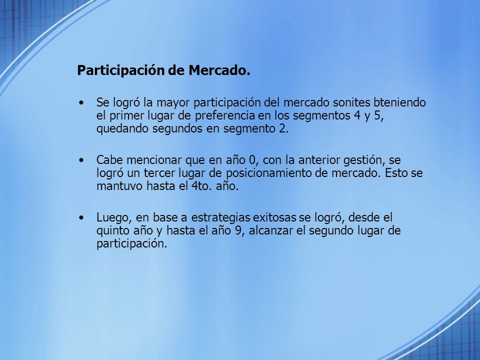 Participación de Mercado.