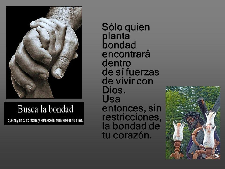 Sólo quien planta bondad encontrará dentro de sí fuerzas de vivir con Dios.
