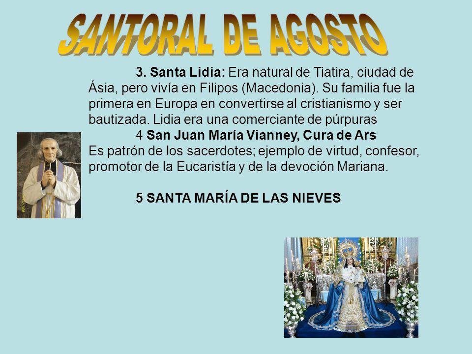 SANTORAL DE AGOSTO