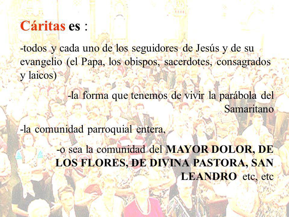Cáritas es : -todos y cada uno de los seguidores de Jesús y de su evangelio (el Papa, los obispos, sacerdotes, consagrados y laicos)