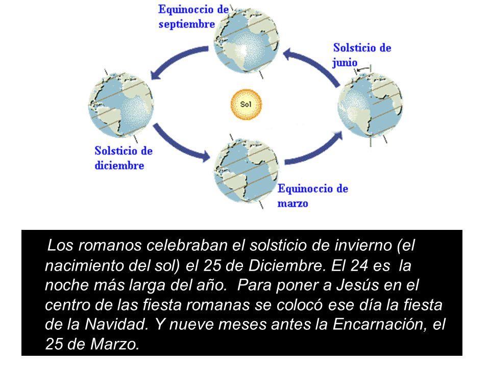 Los romanos celebraban el solsticio de invierno (el nacimiento del sol) el 25 de Diciembre.