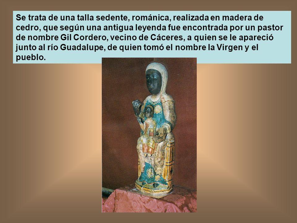 Se trata de una talla sedente, románica, realizada en madera de cedro, que según una antigua leyenda fue encontrada por un pastor de nombre Gil Cordero, vecino de Cáceres, a quien se le apareció junto al río Guadalupe, de quien tomó el nombre la Virgen y el pueblo.