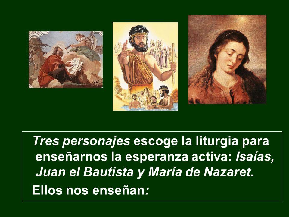 Tres personajes escoge la liturgia para enseñarnos la esperanza activa: Isaías, Juan el Bautista y María de Nazaret.