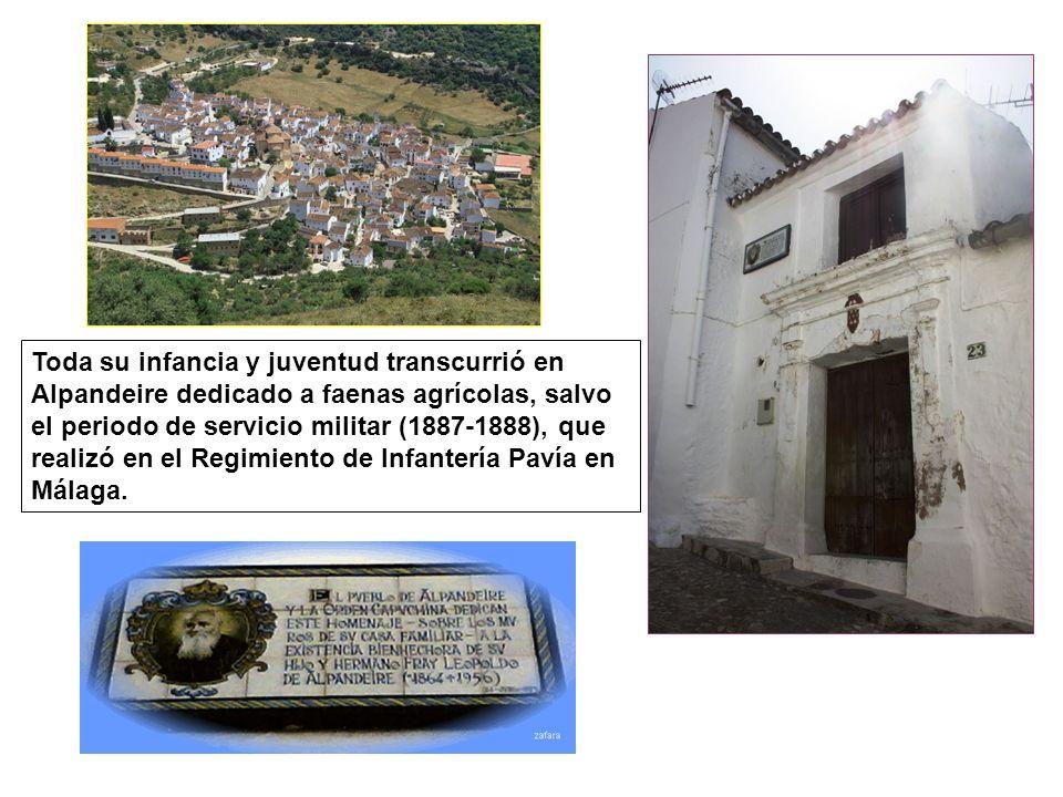 Toda su infancia y juventud transcurrió en Alpandeire dedicado a faenas agrícolas, salvo el periodo de servicio militar (1887-1888), que realizó en el Regimiento de Infantería Pavía en Málaga.