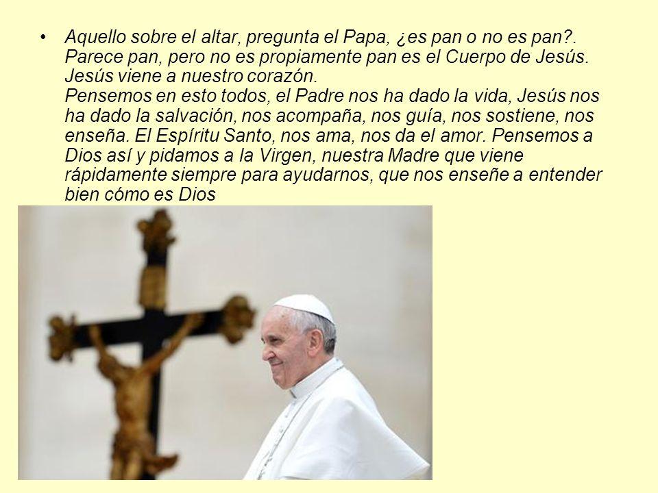 Aquello sobre el altar, pregunta el Papa, ¿es pan o no es pan