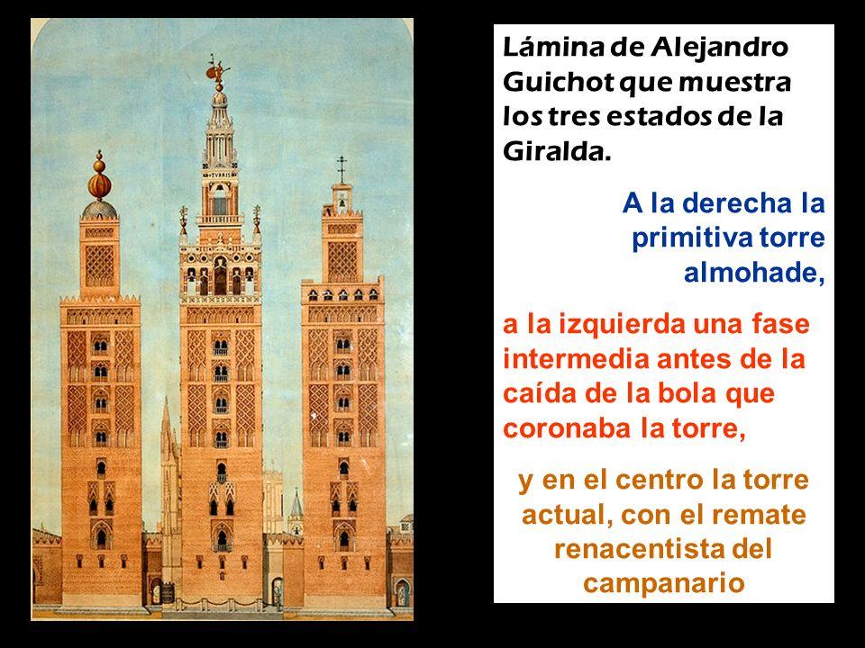 Lámina de Alejandro Guichot que muestra los tres estados de la Giralda.
