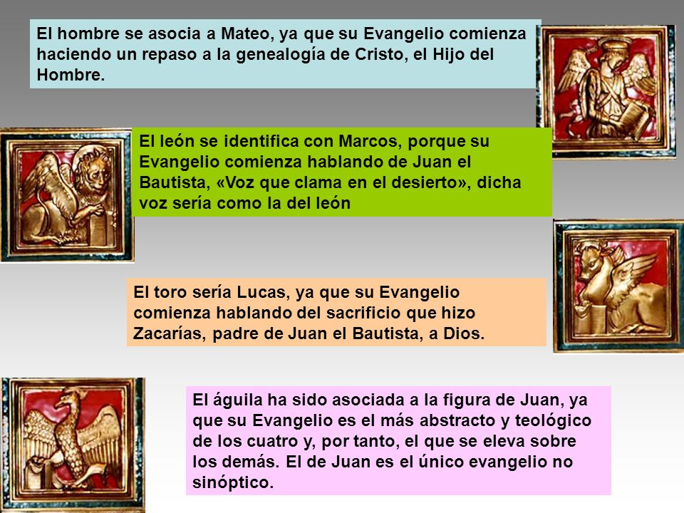 El hombre se asocia a Mateo, ya que su Evangelio comienza haciendo un repaso a la genealogía de Cristo, el Hijo del Hombre.