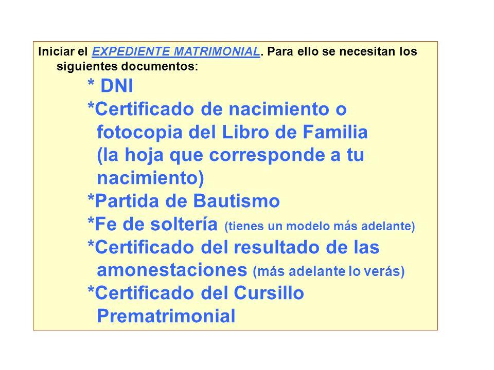 *Certificado de nacimiento o fotocopia del Libro de Familia