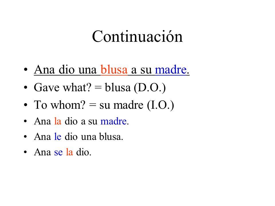 Continuación Ana dio una blusa a su madre. Gave what = blusa (D.O.)