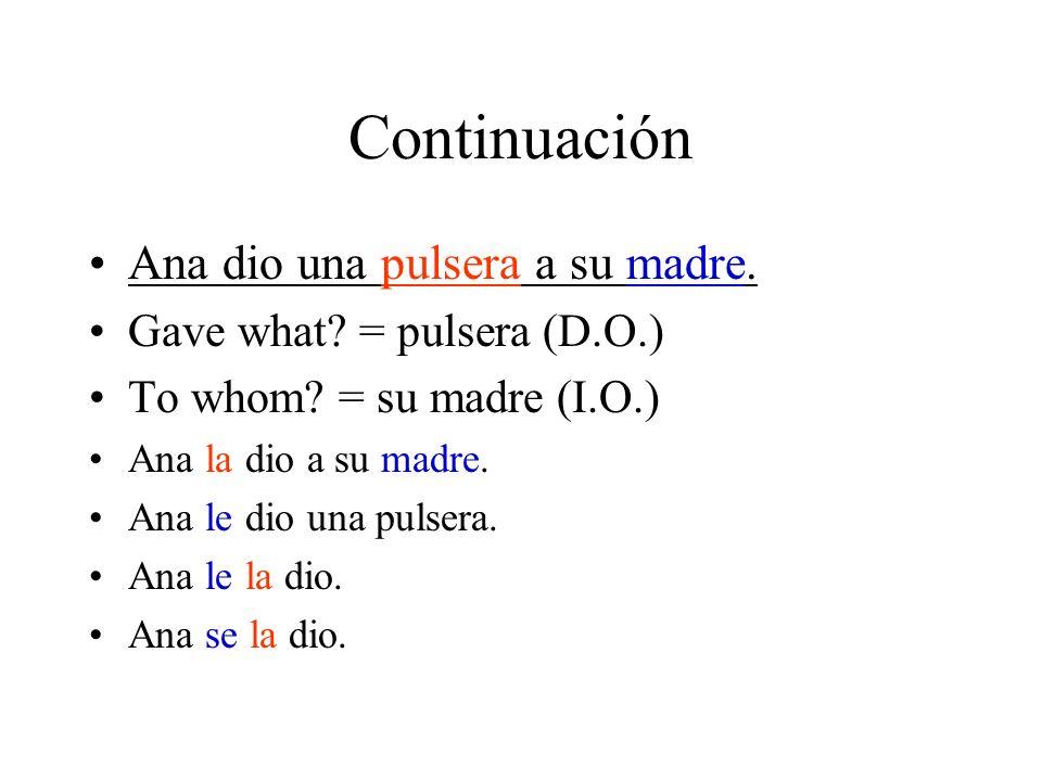 Continuación Ana dio una pulsera a su madre.