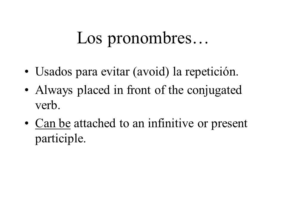Los pronombres… Usados para evitar (avoid) la repetición.