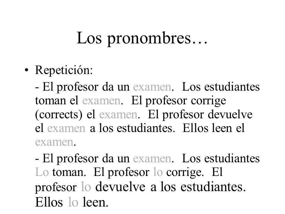 Los pronombres… Repetición: